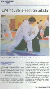 Club aikido equeurdreville dans le journal page Cherbourg en Cotentin pour une nouvelle pratique des arts martiaux